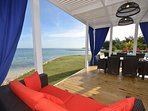 New waterfront gazebo dining, lounging - right up close to the beachfront!