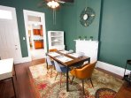 The dining room seats up to 6 people with a desk/workspace available should you need it.