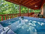 Covered Deck with Hot Tub at Pigeon Forge Pleasures