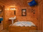 Loft Bathroom with Jacuzzi Tub at  Pigeon Forge Pleasures