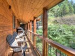 Deck with beautiful forest views and gas grill