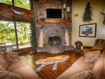 Faboulas living room with great fireplace.