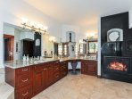 Large master bath, two sided gas fireplace, double vanities, jetted tub and separate walk in shower.