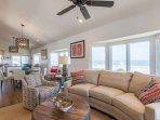 Upstairs is the living area, dining table and kitchen.  The reverse floor plan gives you a wonderful ocean view!
