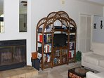 The focal point of the great room is the fireplace and HDTV