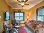 Recline on the large sofa and enjoy a movie on the flat-screen cable TV.
