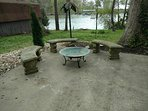 Gas firepit, wood burning firepit, outdoor seating and more amazing views of the serene setting.