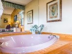 Heart shaped Jacuzzi in 1st bedroom.