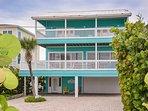 Oceanfront 2 bedroom 2.5 bath beach home on car free beach. Deep 2-car garage.