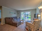 Open the sliding glass doors in the living room and relish in the fresh air coming in off the private patio.
