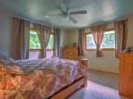 Two guests will sleep comfortably at night in the cozy bed.