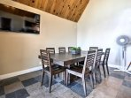 Host family dinners at this lovely farmhouse table.