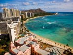 view of Waikiki Beach by helicopter