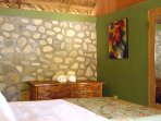 Guests love the rock wall and the new bamboo furnishing.