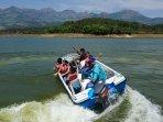 speed boating at lake