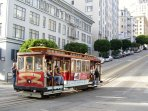 Cable car on pine street.