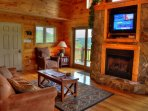 Living Room with Gas Fireplace and Cable TV