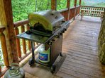 Gas Grill on Covered Deck Next to Kitchen
