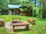 Fire Pit Behind Cabin