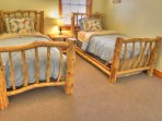 Two XL Twin beds on lower level bedroom