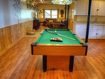 Pool table and family room