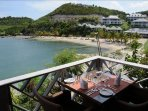Resort restaurant overlooking the beach and bay