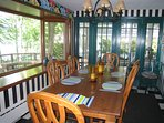Large dining room with farmhouse table
