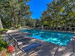 Beautiful St. Andrews' Pool is private, quiet and serene. Lounge chairs to relax.