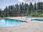 Enjoy year-round access to the heated community pool, just a few steps from the property!