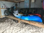 Boat shed with bikes and kayaks for you to use complete with safety vests and helmets