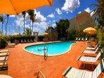 Our fresh water pool is seaside with direct beachaccess.