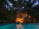 Casa Mandala at night with private pool.
