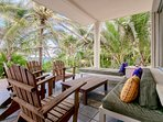 Loung furniture on the lanai, sea views