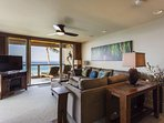 Living Area with Large Flats Screen TV and Ocean Views