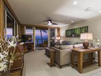 Living Area with Comfortable Sectional and Ocean Views!
