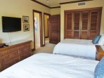 Bedroom 2 with 2 Double Beds and Flat Screen TV