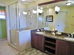 Master Bathroom with Double Sinks and Walk In Shower