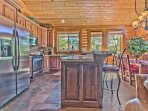 Fully Equipped Kitchen with Granite Countertops, Stainless Steel Appliances and Farm Sink, Breakfast Bar Seating for 2...