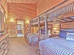 Bunk Room with 2 Full over Queen Bunk Beds, a Private Bath with a Jetted Tub/Shower and Private Deck
