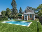 Pool, Lush Lawn Area and Dining Deck of Back of HOue