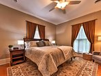 Retreat to the master bedroom for peaceful slumbers on the plush king bed.