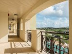 Resort corridor with island view