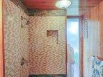 Master bathroom with walk-in shower.