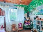 Kids room bedroom with  bunk beds.