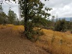 One of the hiking paths on the property with views of the Sierra Mountains