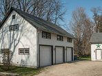 post and beam barn with 3 car garage.