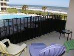 Balcony overlooking Pool and Ocean!