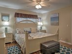 The master suite has a plush king bed, well-suited for a restful nights sleep.