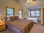 Four guests can rest in the fourth bedroom, which also has a king bed and a queen bed.