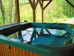 Hot tub on covered lower deck